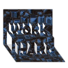 Metalart 23 Blue Work Hard 3d Greeting Card (7x5)