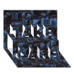 Metalart 23 Blue Take Care 3d Greeting Card (7x5)
