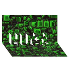Metalart 23 Green HUGS 3D Greeting Card (8x4)