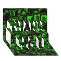 Metalart 23 Green THANK YOU 3D Greeting Card (7x5)