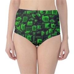 Metalart 23 Green High-Waist Bikini Bottoms