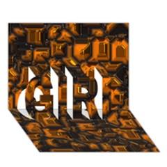 Metalart 23 Orange GIRL 3D Greeting Card (7x5)