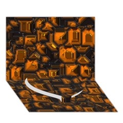 Metalart 23 Orange Heart Bottom 3D Greeting Card (7x5)