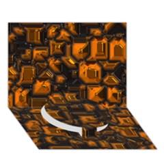 Metalart 23 Orange Circle Bottom 3D Greeting Card (7x5)