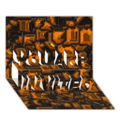 Metalart 23 Orange You Are Invited 3d Greeting Card (7x5)