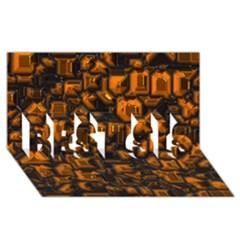 Metalart 23 Orange Best Sis 3d Greeting Card (8x4)