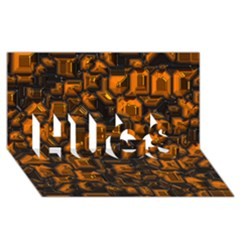 Metalart 23 Orange HUGS 3D Greeting Card (8x4)