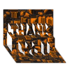 Metalart 23 Orange THANK YOU 3D Greeting Card (7x5)