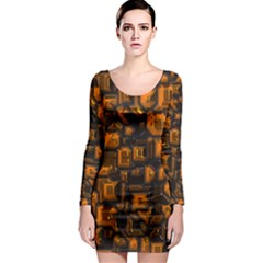 Metalart 23 Orange Long Sleeve Bodycon Dresses