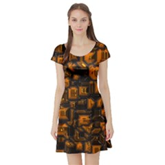 Metalart 23 Orange Short Sleeve Skater Dresses