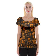 Metalart 23 Orange Women s Cap Sleeve Top