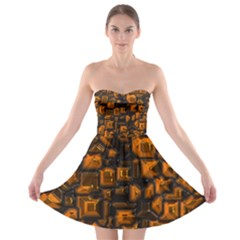 Metalart 23 Orange Strapless Bra Top Dress