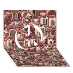 Metalart 23 Peach Peace Sign 3d Greeting Card (7x5)