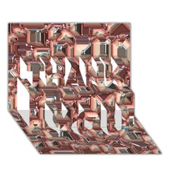 Metalart 23 Peach THANK YOU 3D Greeting Card (7x5)