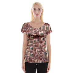 Metalart 23 Peach Women s Cap Sleeve Top