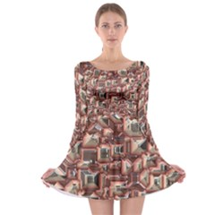 Metalart 23 Peach Long Sleeve Skater Dress