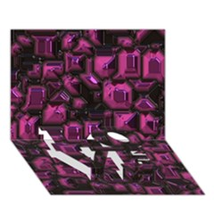 Metalart 23 Pink LOVE Bottom 3D Greeting Card (7x5)