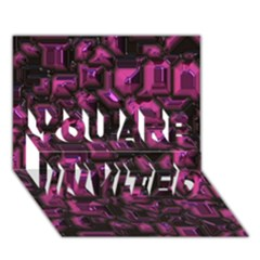 Metalart 23 Pink You Are Invited 3d Greeting Card (7x5)
