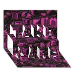 Metalart 23 Pink Take Care 3d Greeting Card (7x5)