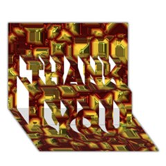 Metalart 23 Red Yellow Thank You 3d Greeting Card (7x5)
