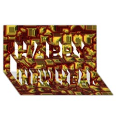 Metalart 23 Red Yellow Happy New Year 3d Greeting Card (8x4)