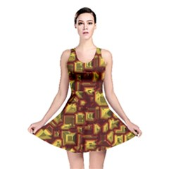Metalart 23 Red Yellow Reversible Skater Dresses
