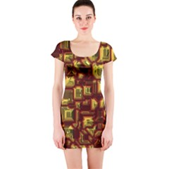 Metalart 23 Red Yellow Short Sleeve Bodycon Dresses