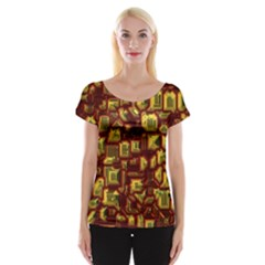 Metalart 23 Red Yellow Women s Cap Sleeve Top