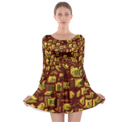 Metalart 23 Red Yellow Long Sleeve Skater Dress