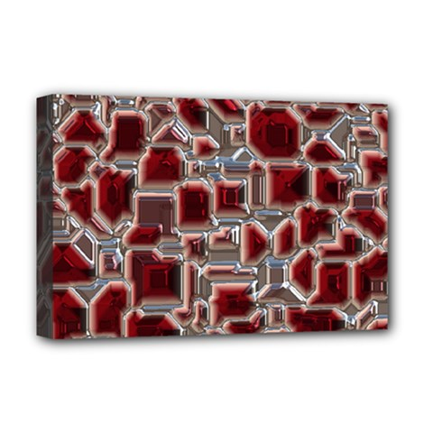 Metalart 23 Red Silver Deluxe Canvas 18  x 12