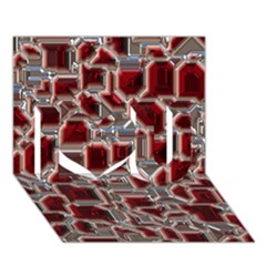 Metalart 23 Red Silver I Love You 3d Greeting Card (7x5)