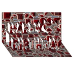 Metalart 23 Red Silver Happy Birthday 3d Greeting Card (8x4)