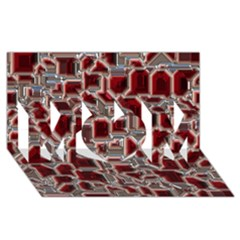 Metalart 23 Red Silver Mom 3d Greeting Card (8x4)