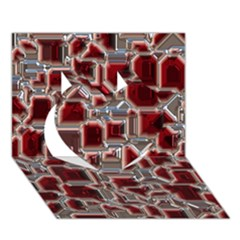 Metalart 23 Red Silver Heart 3D Greeting Card (7x5)