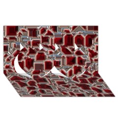 Metalart 23 Red Silver Twin Hearts 3D Greeting Card (8x4)