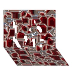 Metalart 23 Red Silver LOVE 3D Greeting Card (7x5)