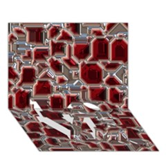 Metalart 23 Red Silver LOVE Bottom 3D Greeting Card (7x5)