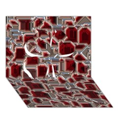 Metalart 23 Red Silver Clover 3D Greeting Card (7x5)