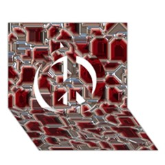 Metalart 23 Red Silver Peace Sign 3D Greeting Card (7x5)