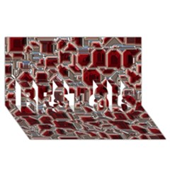 Metalart 23 Red Silver BEST SIS 3D Greeting Card (8x4)