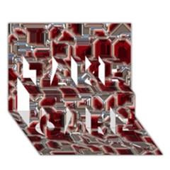 Metalart 23 Red Silver TAKE CARE 3D Greeting Card (7x5)