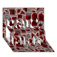 Metalart 23 Red Silver You Did It 3d Greeting Card (7x5)