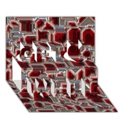 Metalart 23 Red Silver Get Well 3d Greeting Card (7x5)