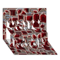 Metalart 23 Red Silver You Rock 3d Greeting Card (7x5)