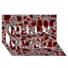 Metalart 23 Red Silver Merry Xmas 3D Greeting Card (8x4)