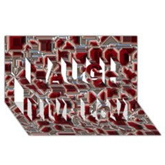 Metalart 23 Red Silver Laugh Live Love 3d Greeting Card (8x4)