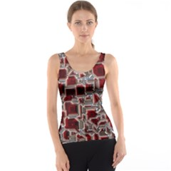 Metalart 23 Red Silver Tank Tops
