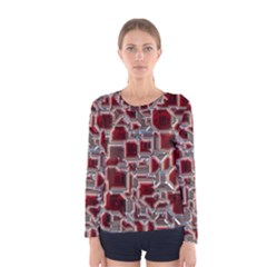Metalart 23 Red Silver Women s Long Sleeve T-shirts