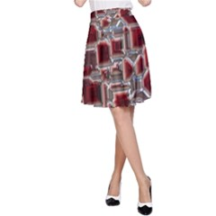 Metalart 23 Red Silver A-Line Skirts