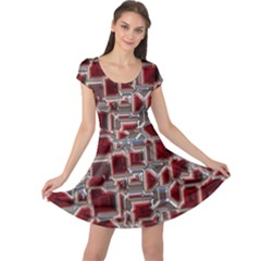 Metalart 23 Red Silver Cap Sleeve Dresses